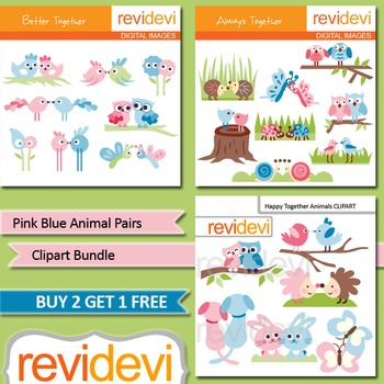 Cute clip art bundle (3 packs) pink blue animal pairs / ow