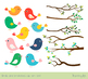 Cute color birds clipart set, Tree branches with green leaves, spring, summer