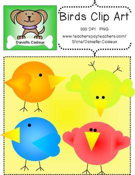Cute colorful bird clip art