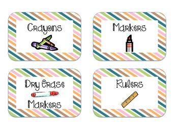 Cute contemporary diagonal stripe supply labels