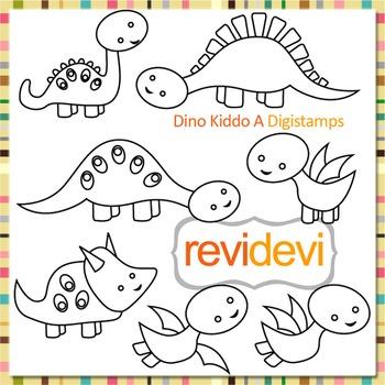 Cute dinosaur (digital stamp, coloring graphic) S058
