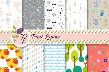 Cute doodle Children Seamless Pattern Set. Digital paper pack.
