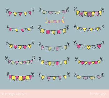Cute doodle bunting clipart, Hand drawn yellow purple summer party pennant flags