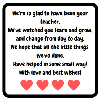 Cute end of prac or end of year message for students