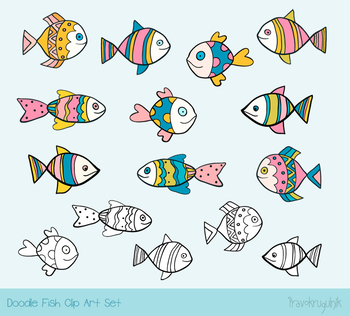 Cute fish clipart, Hand drawn sea animal, Ocean sea life - color and outlines