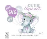 Cute floral Girl Elephant SVG,vector clip art,baby girl el