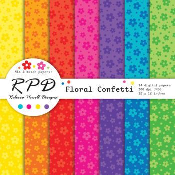 Cute flowers floral bright rainbow colours digital paper set/ backgrounds