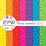 Cute flowers floral bright rainbow colours digital paper s