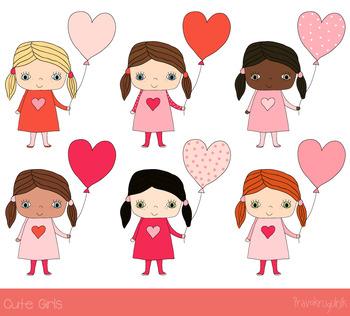 Cute girls clipart, Valentine love clip art, Children set, African American kids