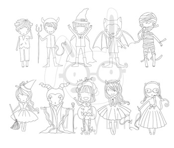 Cute halloween color and black line Clipart,Instant Download PNG file - 300 dpi