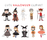 Cute halloween color and black line Clipart,Instant Downlo