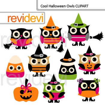 Cute halloween owls clip art - commercial use