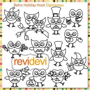 Cute holidays owls clip art (digital stamps, coloring grap