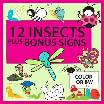 Insect clip art + bonus signs and borders