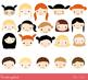 Cute kid faces clipart, Girls and boys heads clip art, Kawaii children faces
