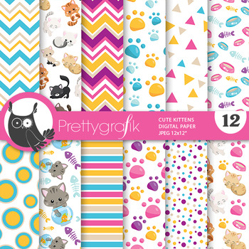 Cute kitten papers, commercial use, scrapbook papers - PS809