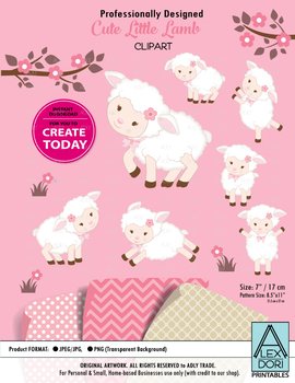Cute lamb sheep clipart for girls pink and white clipart