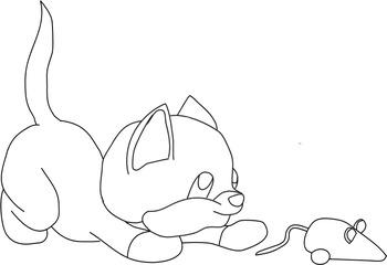 Cute little Kitty line art