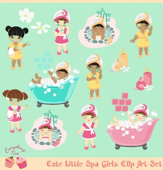 Cute little Spa Girls African - american and Brunette Brown Hair Clip Art Set