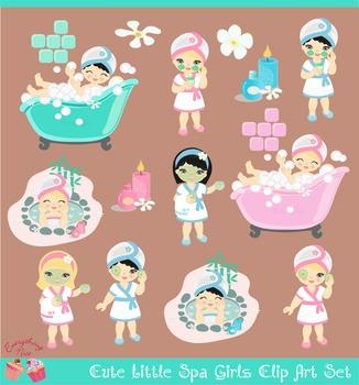 Cute little Spa Girls Blonde Black hair Clip Art Set