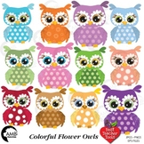 Owl Clipart, Floral Clipart, Flower Baby Owls, {Best Teacher Tools} AMB-351