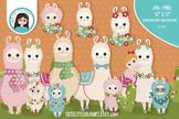 Cute llamas cliparts