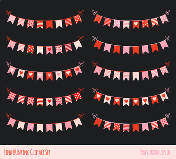 Cute love bunting clipart, Pink Valentine romantic banner set birthday party