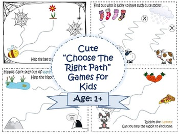 "Cute mazes for kids (adapted for age 1+). ""Choose the right path"" printable"