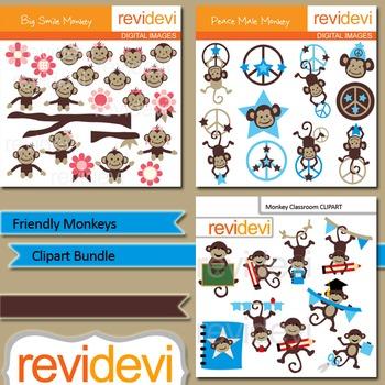 Cute monkey clip art bundle (3 packs)