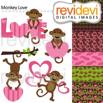 Cute monkey clip art (pink, brown, heart, love) clipart
