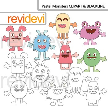 Cute monsters clipart and blackline