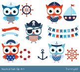 Cute nautical owl clipart, Red blue boy marine clip art, S