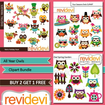 Cute owl clip art for all year long (3 packs) holidays, four seasons