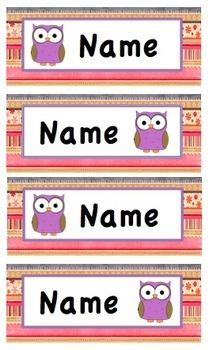 Cute owl editable desk names
