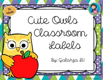 Cute owls Classroom Supply lables Growing Set