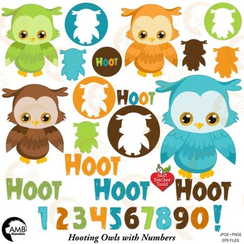 Owls and numbers Clipart, Birthday Party Clipart {Best Teacher Tools} AMB-1941