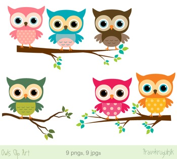 Cute owls clipart, Digital owls on branches, Colorful rain