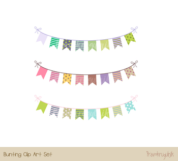 Cute party bunting clipart, Birthday banner flag pennant clip art, holiday decor