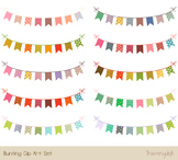 Cute party bunting clipart, Birthday banner flag pennant c