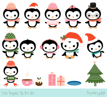 Cute penguins clipart set, Christmas penguin clip art collection, Winter penguin
