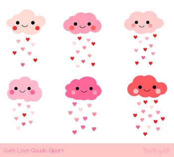 Cute pink Valentine clouds clipart, Love cloud clip art, Rainy heart clouds rain