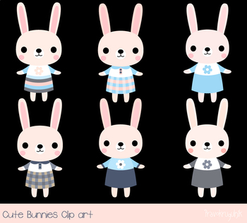 Cute pink bunny clipart, Easter rabbit clipart, Baby girl animal clip art set