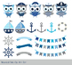 Cute pirate owl clipart, Nautical sailor owl clip art, Grey blue animal, boat