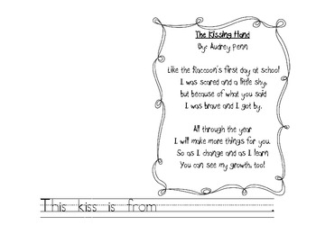 image about The Kissing Hand Printable titled Lovable poem template for The Kissing Hand