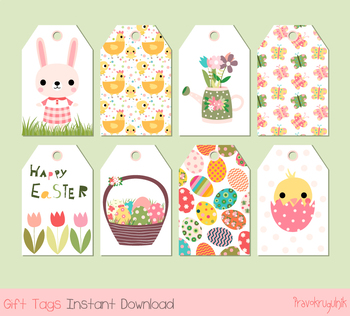 Cute printable Easter gift tags,  Digital Easter favor tags, Easter eggs, bunny
