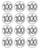 Cute printable I am 100 days smarter round label template Black and White