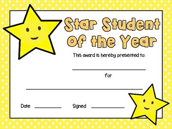 Cute printable Star Student Award Certificates (Positive Influencer of the Day)