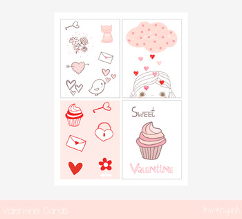 Cute printable Valentine cards, Love greeting card notes, Pink heart card