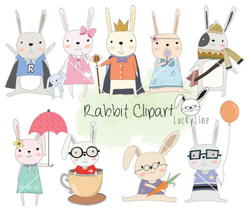 Cute rabbit Clipart, bunnies Clipart, animal clipart PNG file-300 dpi