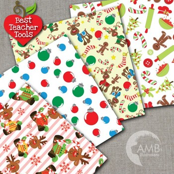 Christmas Digital Papers, Reindeer Papers and Backgrounds AMB-456